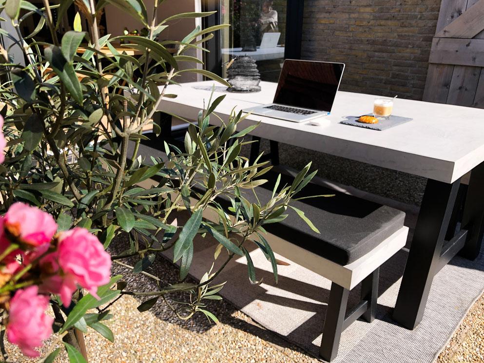 Beton cire tafelblad buiten grijs 40% - Beton cire Nederland