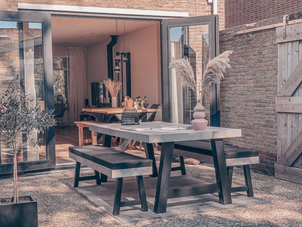 Betonlook buitentafel grijs - Beton cire Nederland
