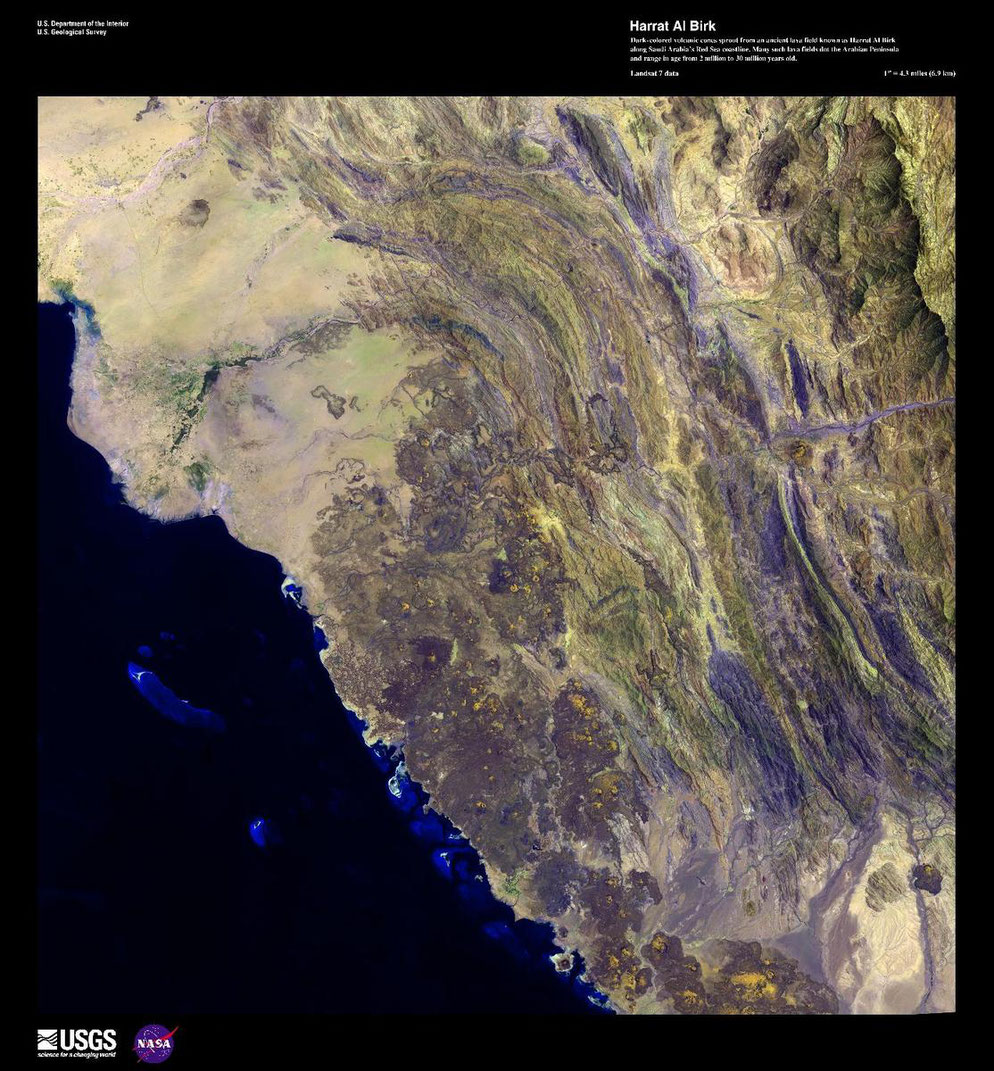 Geoecologically Site of Saudi Arabia / Satellite Recording & Outline from the Red Sea / South West Arabia Kingdom / Desert State / Civilization of Harrat Al Birk SA / NASA US Recording of  Saudi Kingdom