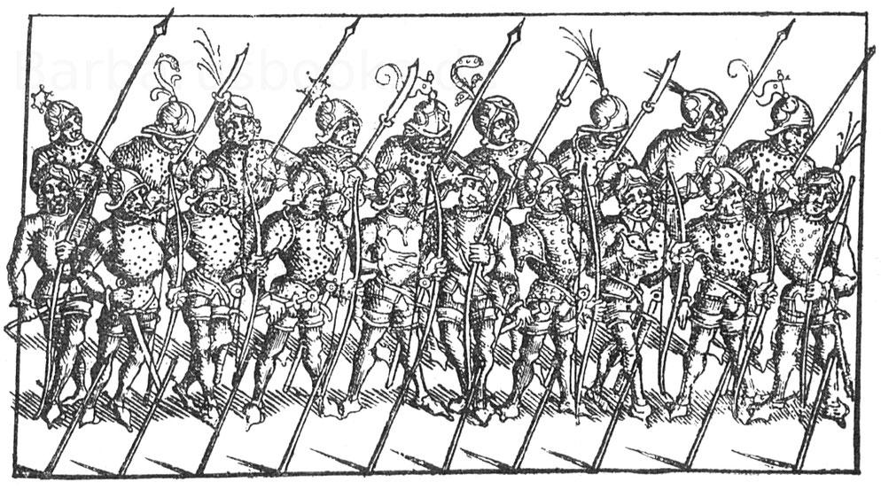 Fußvolk Karls des Kühnen. Kupferstrich eines Monogrammisten des 15. Jahrhunderts. L. 28.