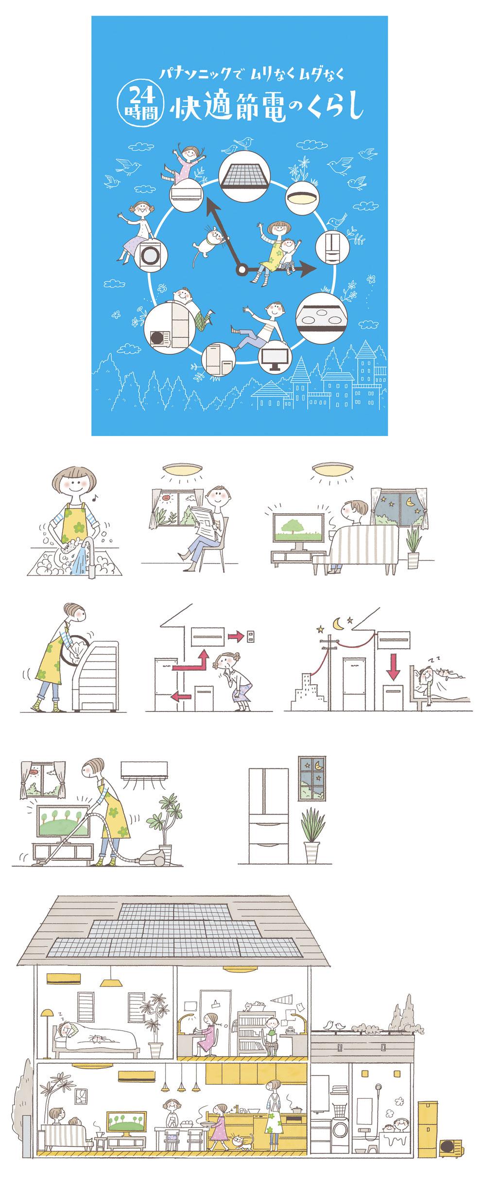 エコキュートと家族の暮らしのイラスト