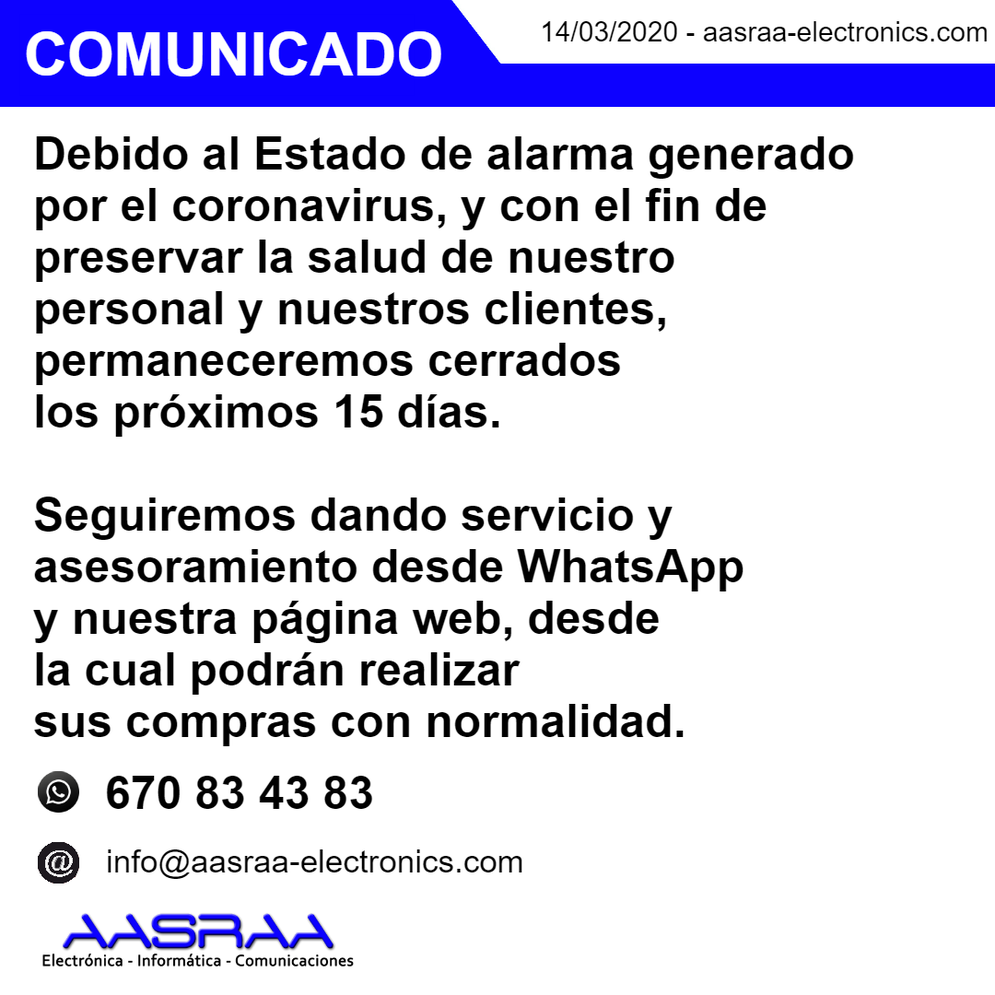 Comunicado sobre el coronavirus - Aasraa Electronics