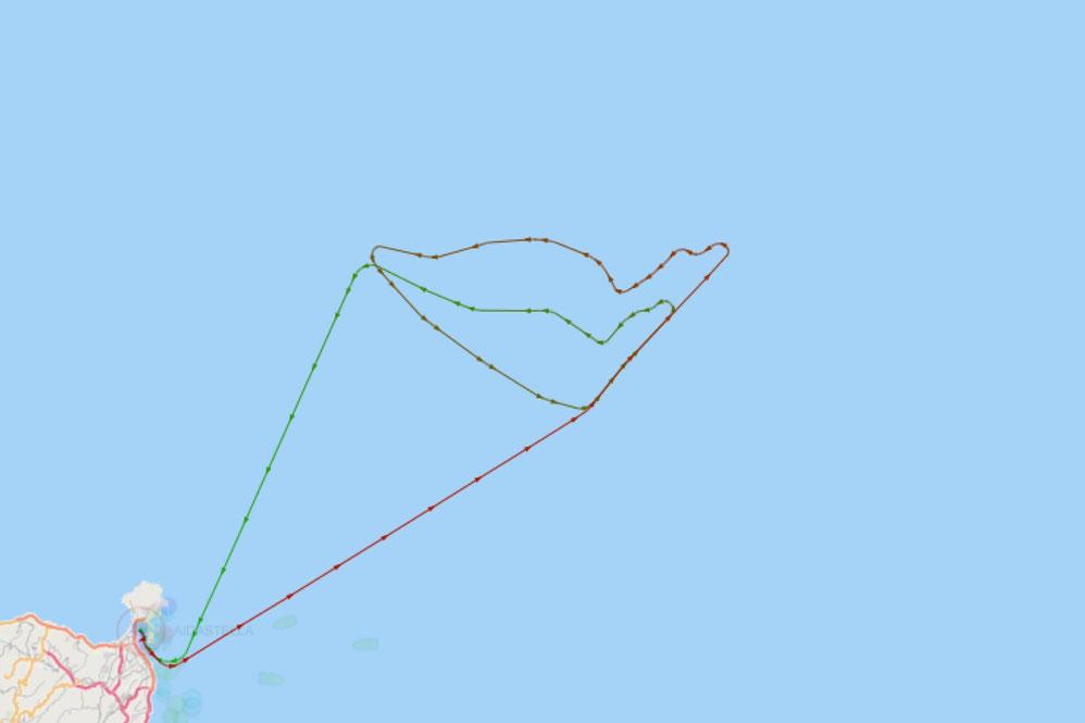 AIDAstella hat einen Kussmund ins Meer gemalt |© Screenshot myshiptracking.com