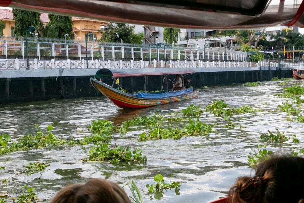 Čau Prajos upe kursuoja spalvotos keleivinės baržos