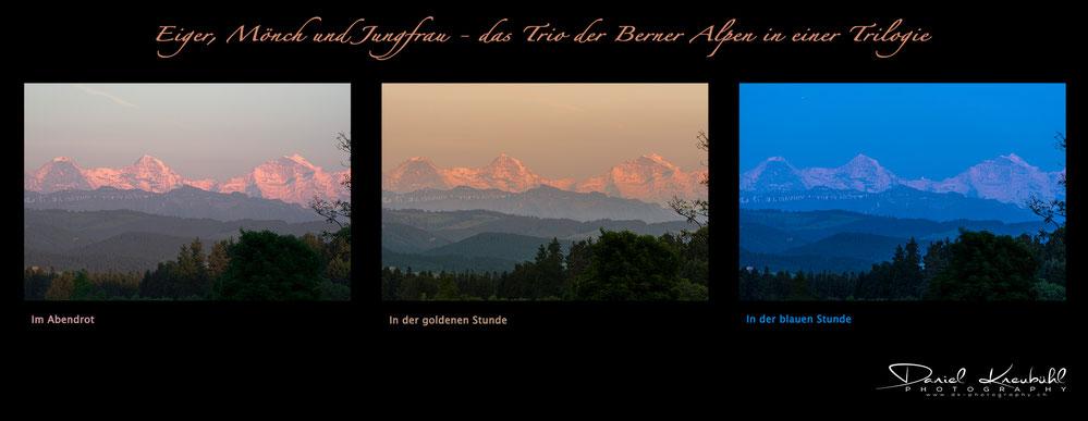 Eiger, Mönch, Jungfrau, goldene Stunde, blaue Stunde, Abendrot, Berner Oberland, photoadventure.ch, dk-photography.ch,  Photographer/Fotograf: Daniel Kneubühl