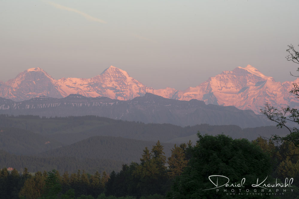 Eiger, Mönch, Jungfrau, im Abendrot, Berner Oberland, photoadventure.ch, dk-photography.ch,  Photographer/Fotograf: Daniel Kneubühl