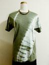 Tシャツ ~斜め絞り染・黄緑グレー~