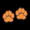 deux empreintes de pattes chat dessinées couleur saumon
