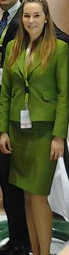 Uniforme de azafata verde manzana