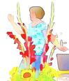 Frau die sich hinter Blume bewegt