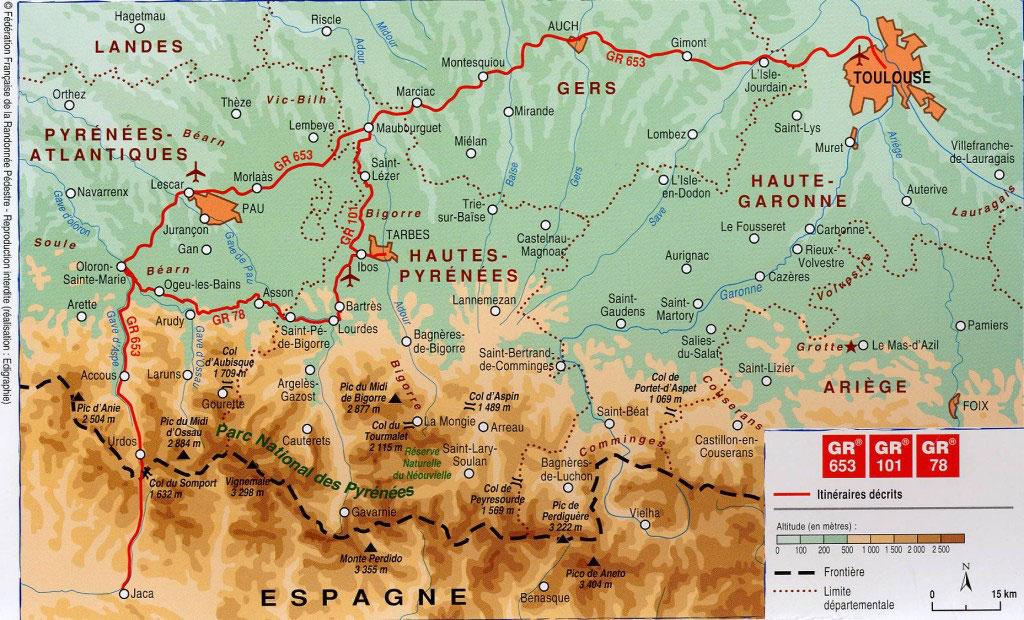 Gr 653 Sentier Vers Saint Jacques De Compostelle De Toulouse A Jaca Cdrp64 Comite Departemental De La Randonnee Pedestre Des Pyrenees Atlantiques