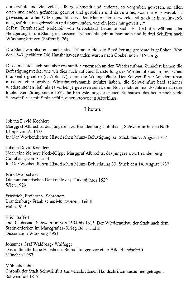 Die Schweinfurter Belagerungsklippen 1553 Schweinfurtführer Ein