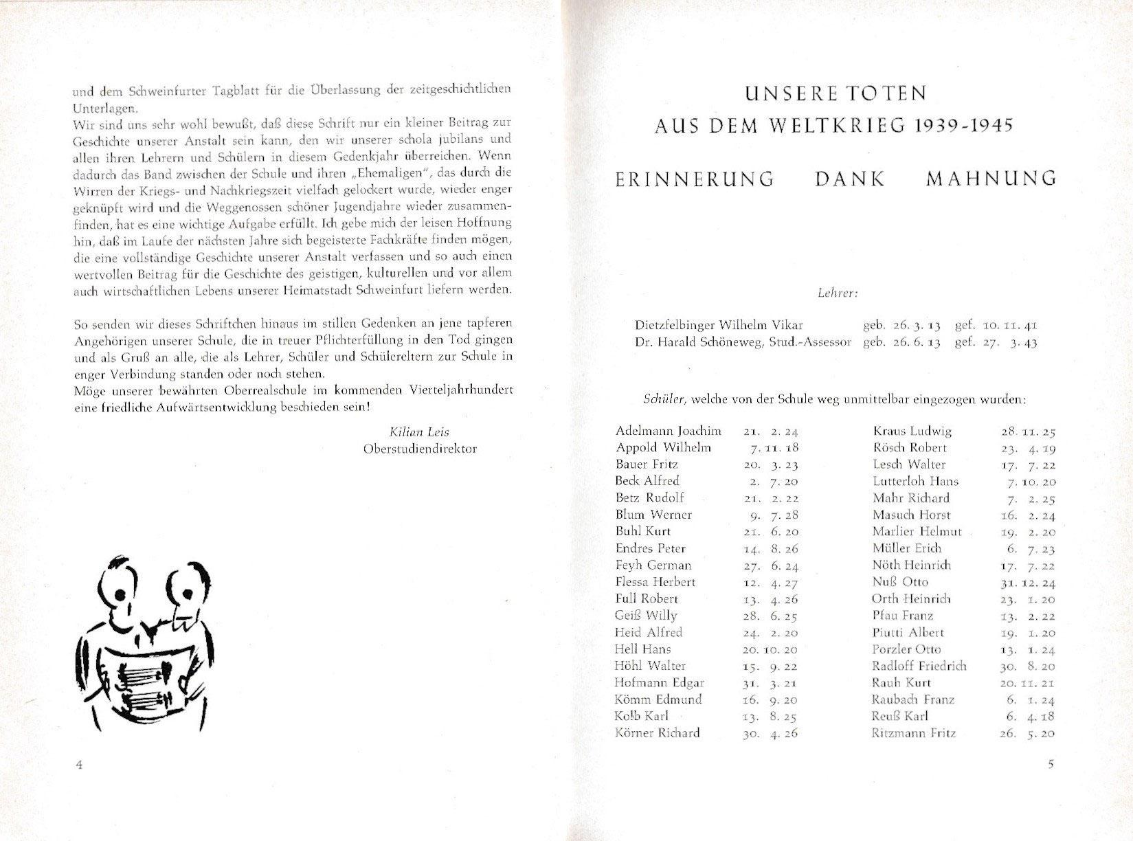 Festschrift 125 Jahre Oberrealschule Schweinfurt Heute Alexander V