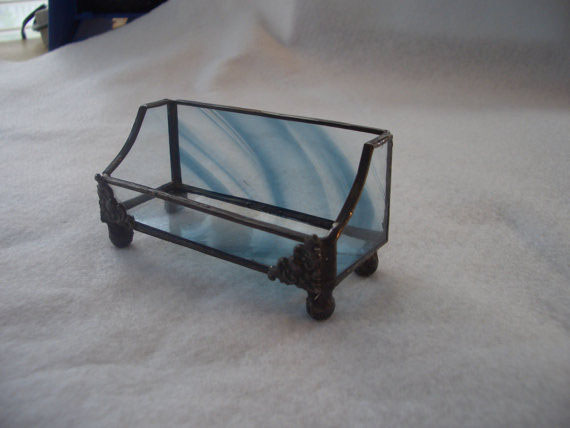 Business card holders picture gallery acadian glass art studio llc stained glass business card holder tiffany style steel blue baroque glass colourmoves