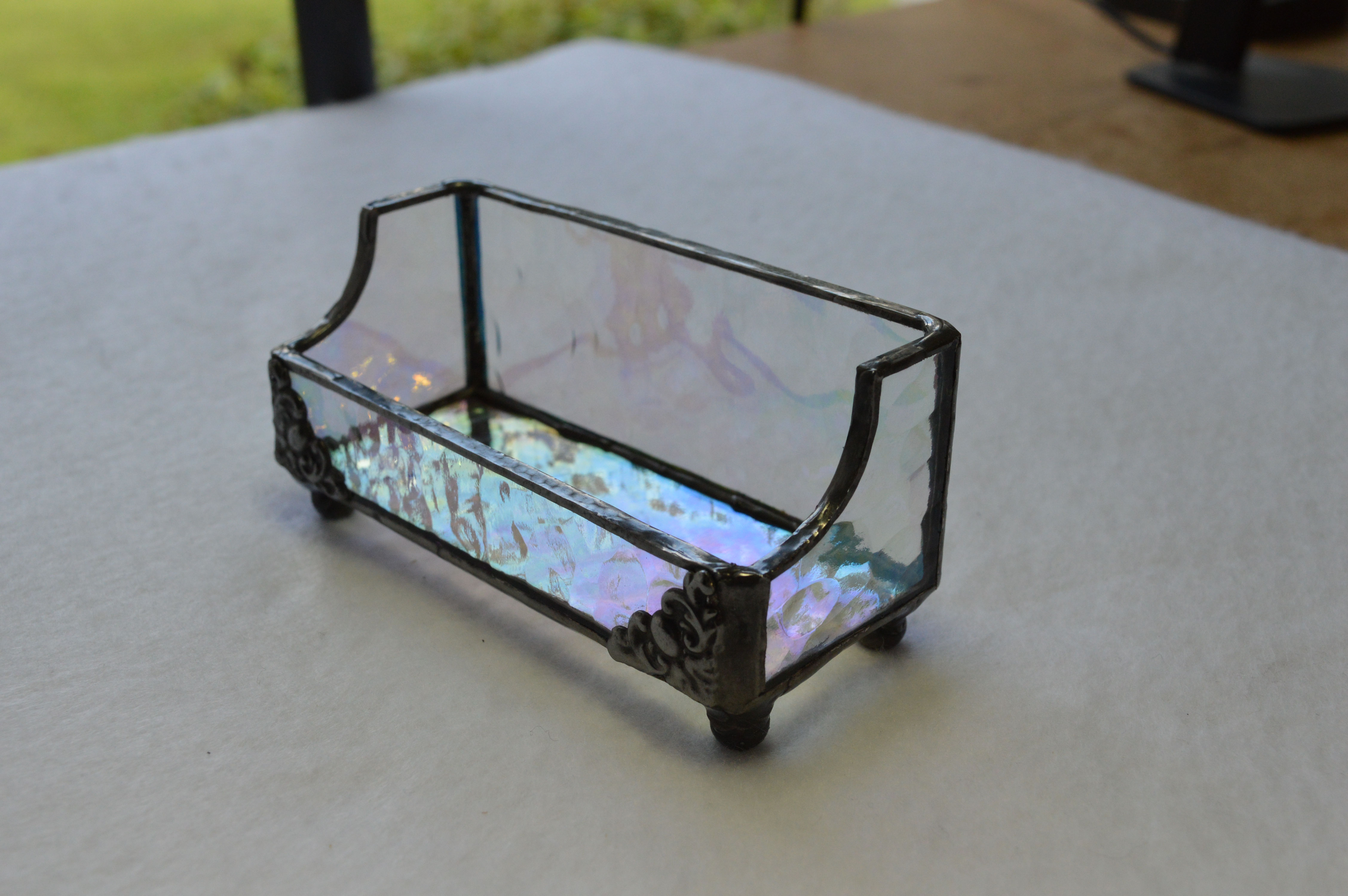 Business card holders picture gallery acadian glass art studio llc clear iridescent hammered stained glass colourmoves