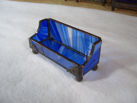 Business card holders picture gallery acadian glass art studio llc stained glass business card holder tiffany style cobalt blue baroque glass colourmoves