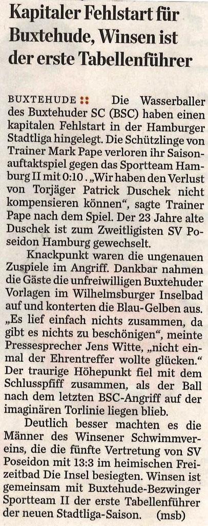 Wasserball - Presseschau 2014 - Buxtehuder Schwimm-Club