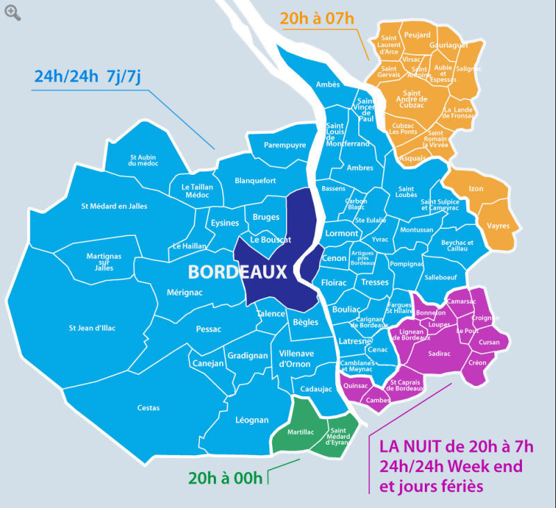 Carte Bordeaux Cub.Zones Couvertes Sos Medecins Bordeaux 05 56 44 74 74