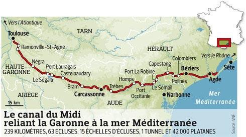 Plan du canal du midi