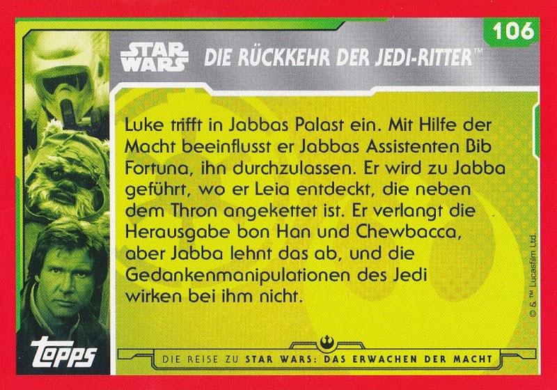 Chewie übernimmt die Kontrolle. Topps Journey to Star Wars Nr 136