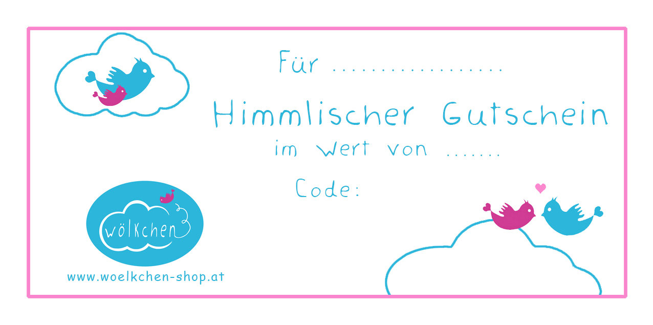 Himmlischer Gutschein - Schnullerketten mit Namen - woelkchen-shop.at
