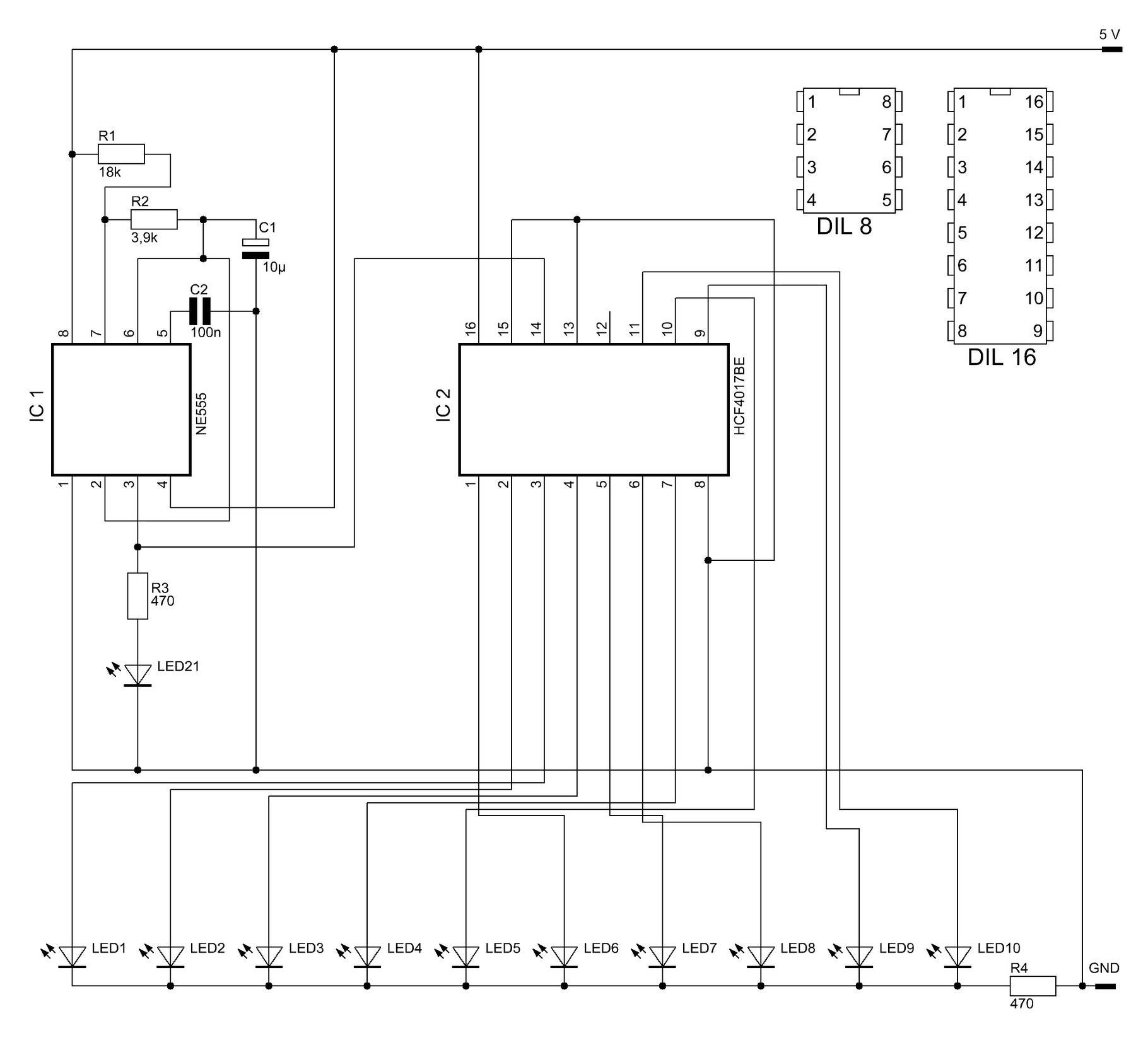 Erweiterbares Lauflicht mit 10 LEDs - Elektronische Basteleien