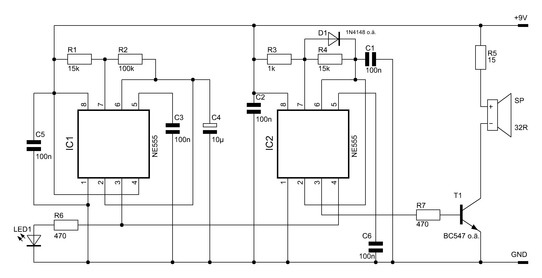 NE555-Signalgeber - Elektronische Basteleien