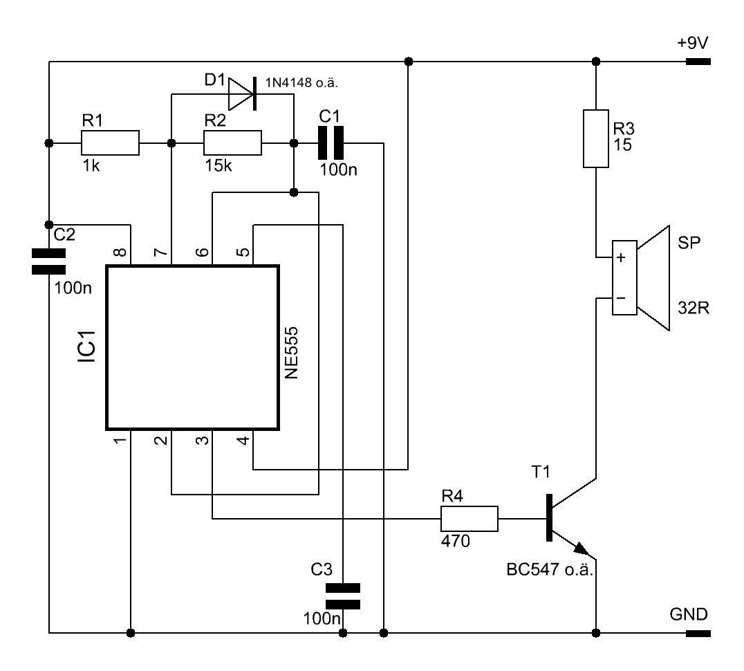 NE555-Signalgeber - Elektronische Basteleien on