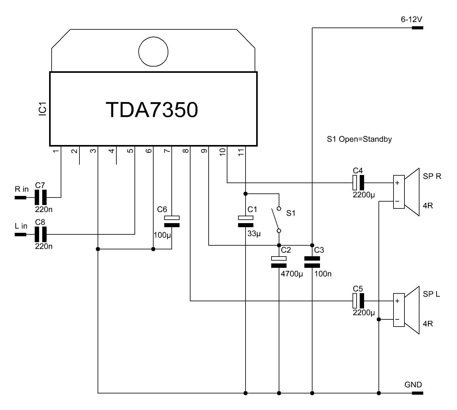 Das Verstärker-IC TDA7350 - Elektronische Basteleien