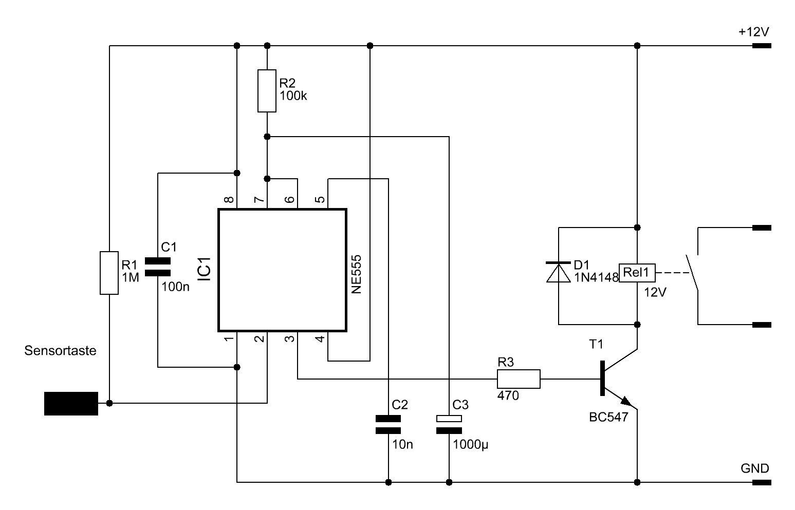 NE555 Sensortaster mit Zeitschaltung - Elektronische Basteleien
