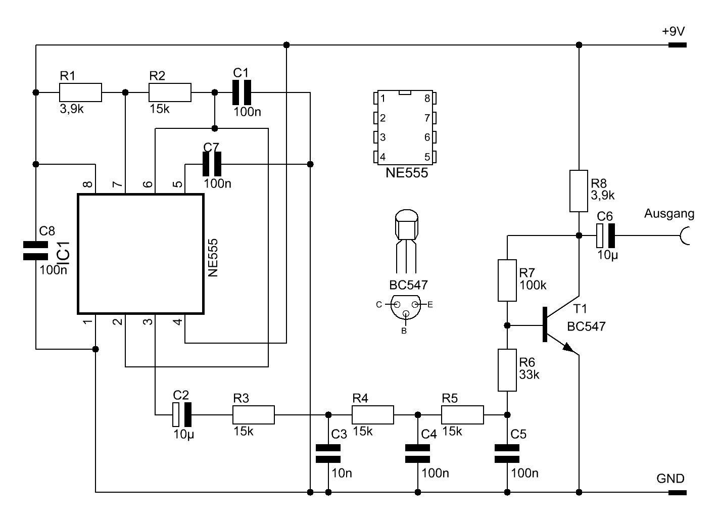Sinuswellen mit dem NE555 erzeugen - Elektronische Basteleien