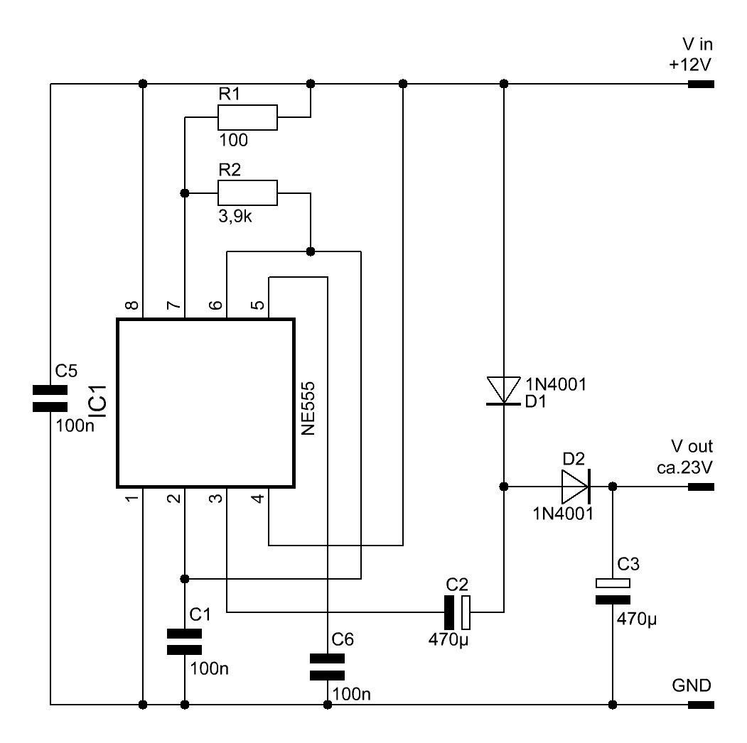 Spannungswandler (Spannungsverdoppler) mit dem NE555 - Elektronische ...