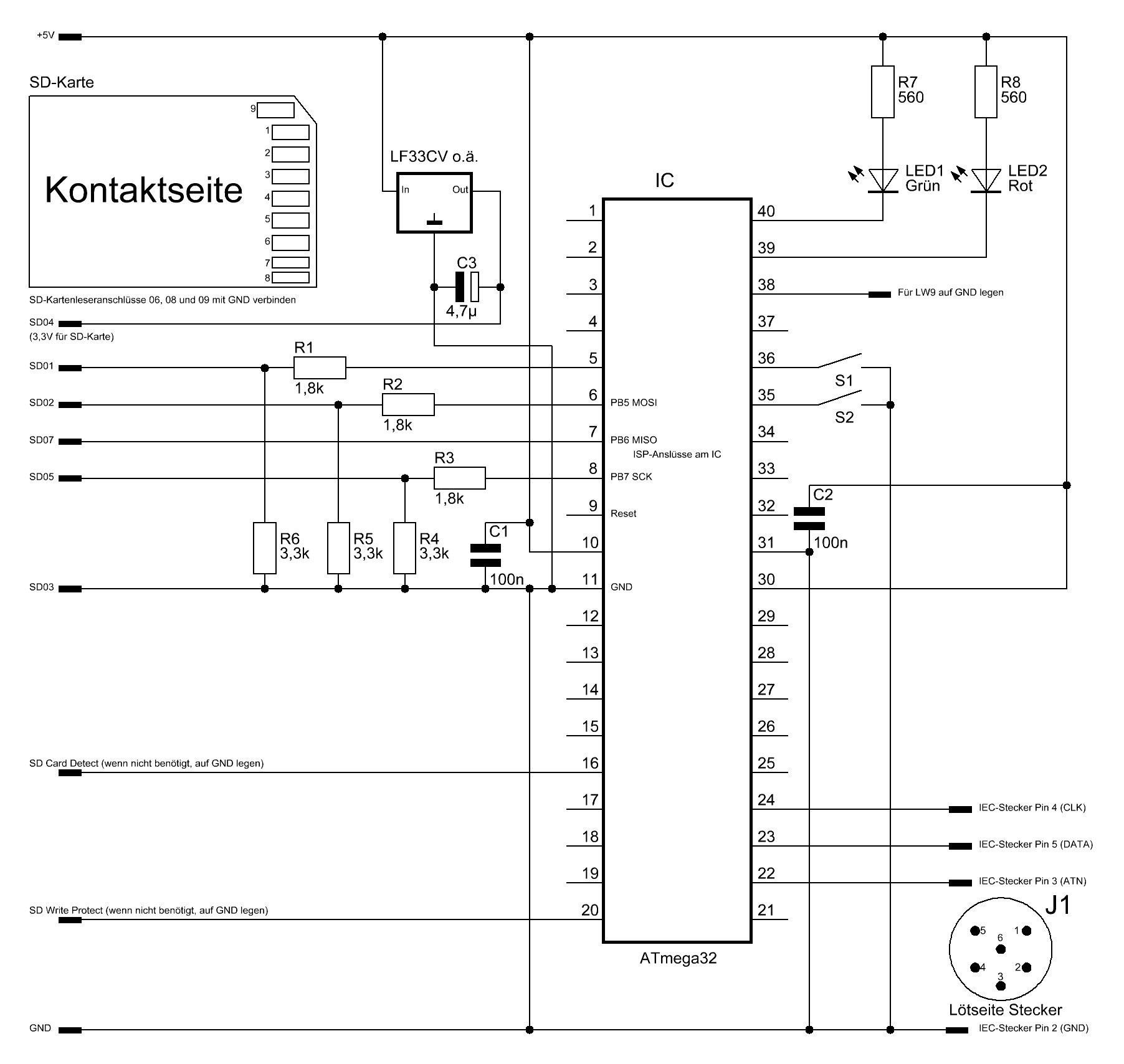 SD2IEC mit ATmega32 (erster Aufbau) - Elektronische Basteleien