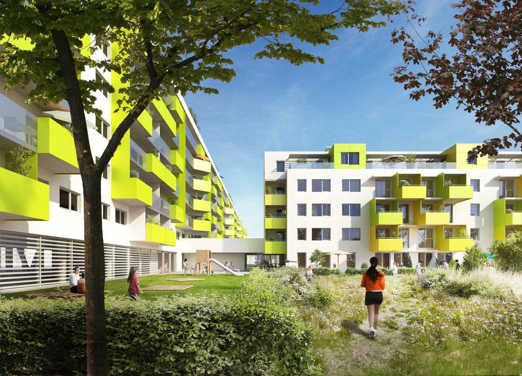 Das Projekt Passivwohnhausanlage Kaisermühlenstraße