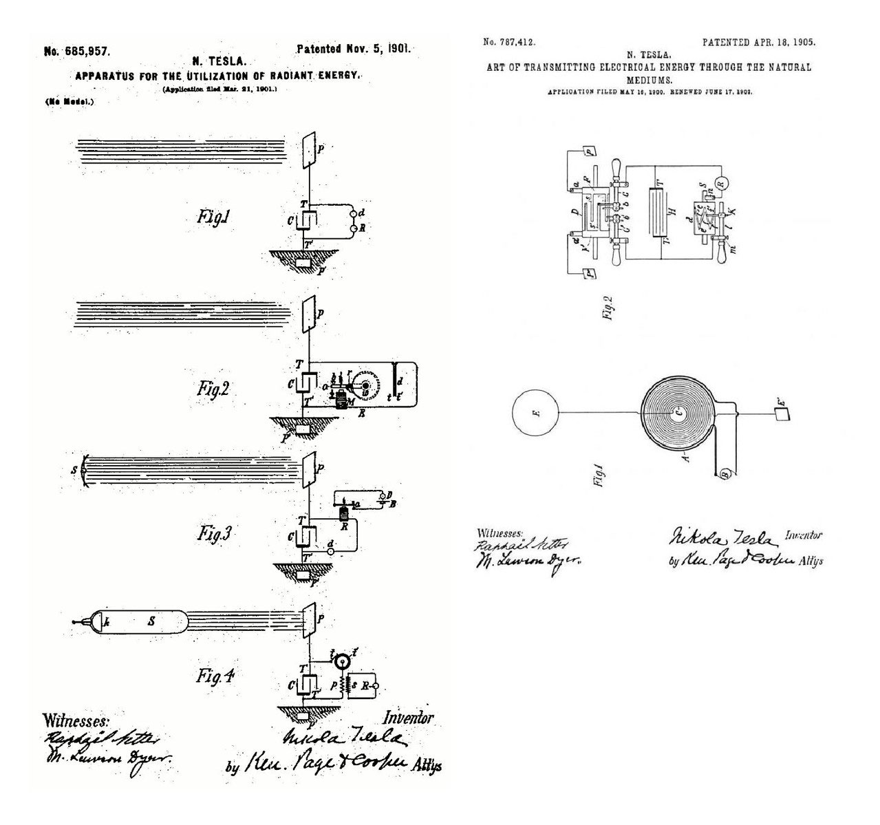 Teslas Radiant Energy Open Tesla Research Leland Faraday Motor Wiring Diagram Us787412 Art Of Transmitting Electrical Through The Natural Mediums April 18 1905