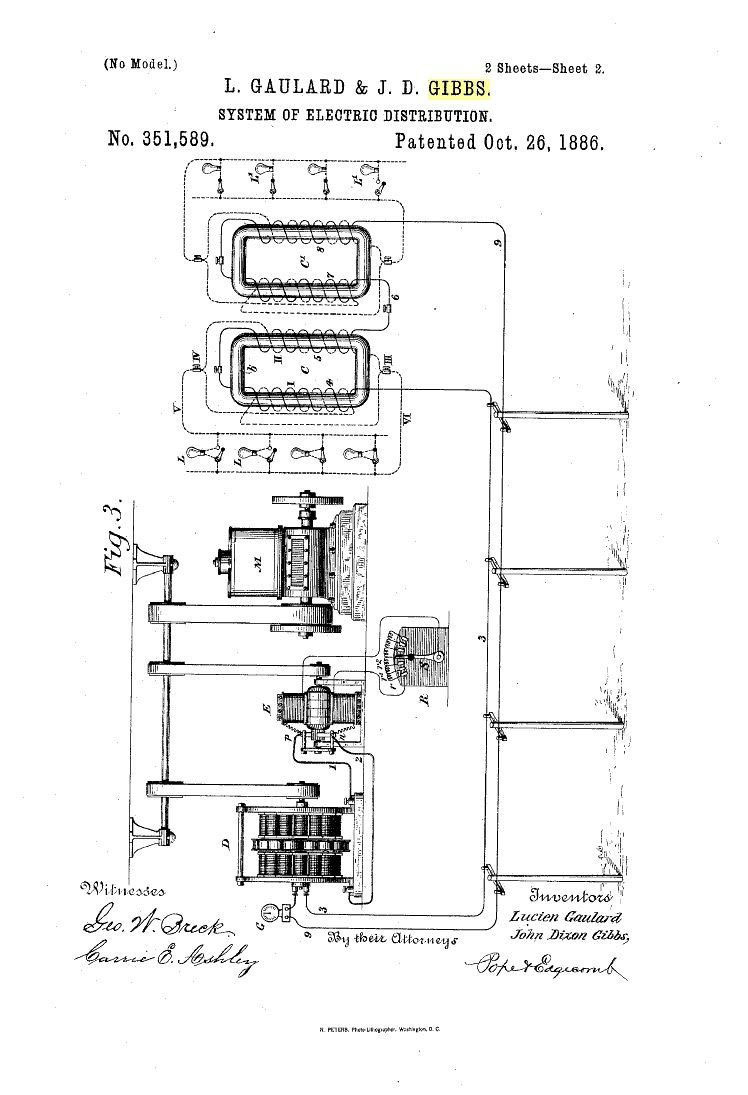 Niagara Falls Power Project 1888 Open Tesla Research Pump Wiring Diagram Further Century Ac Electric Motor Us351589 System Of Distribution Oct 26 1886 Patent