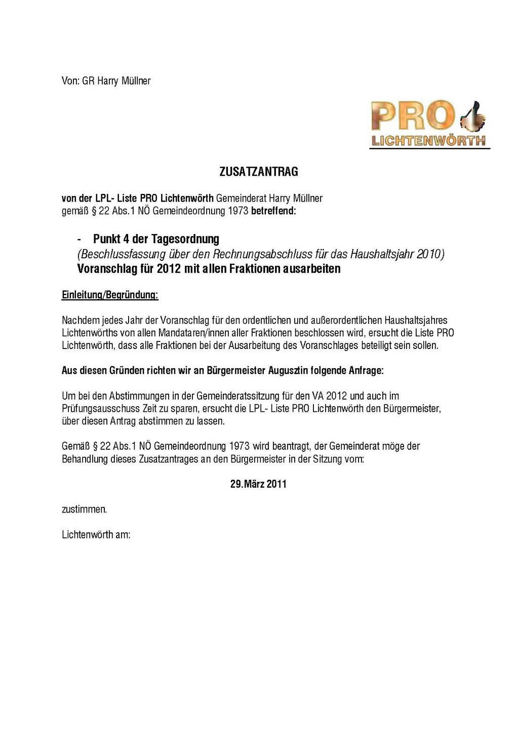 Gemeinderatssitzung am 2011-03-29 Beginn 1900 Uhr im Gemeindeamt ...