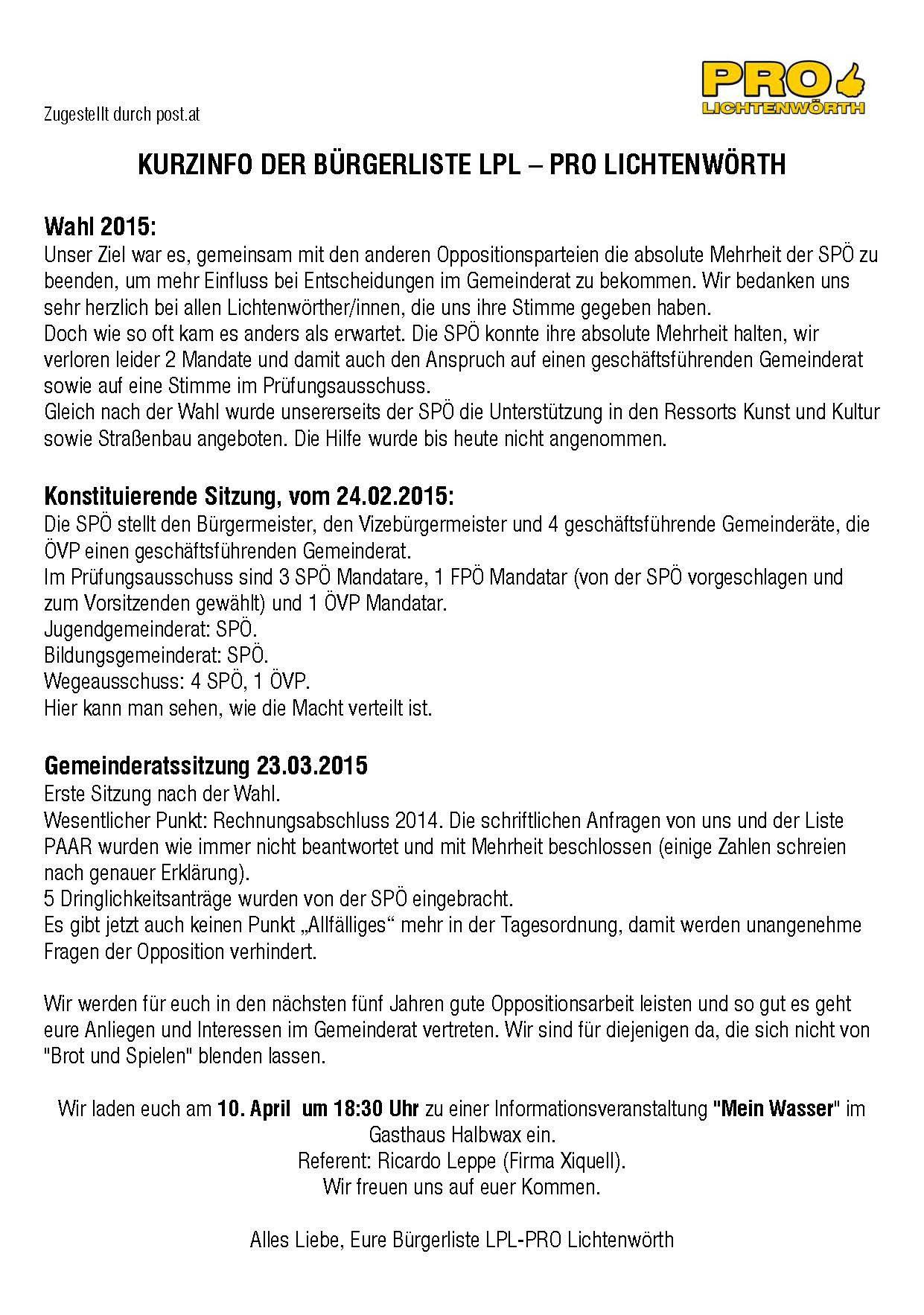 Postwurfsendung 2015/07 - LPL-Liste PRO Lichtenwörth