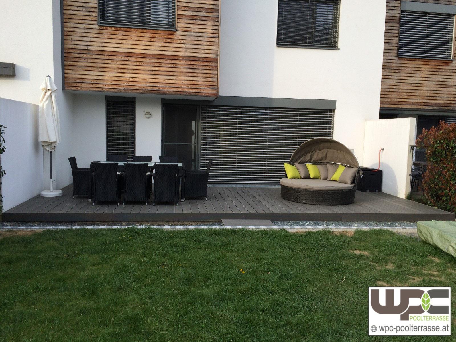 Terrasse Sanierung Vergrößerung Verlegt Mit Bpc Bambus Wpc Terrassenlen Montage Auf Alu Unterkonstrukion In Kies