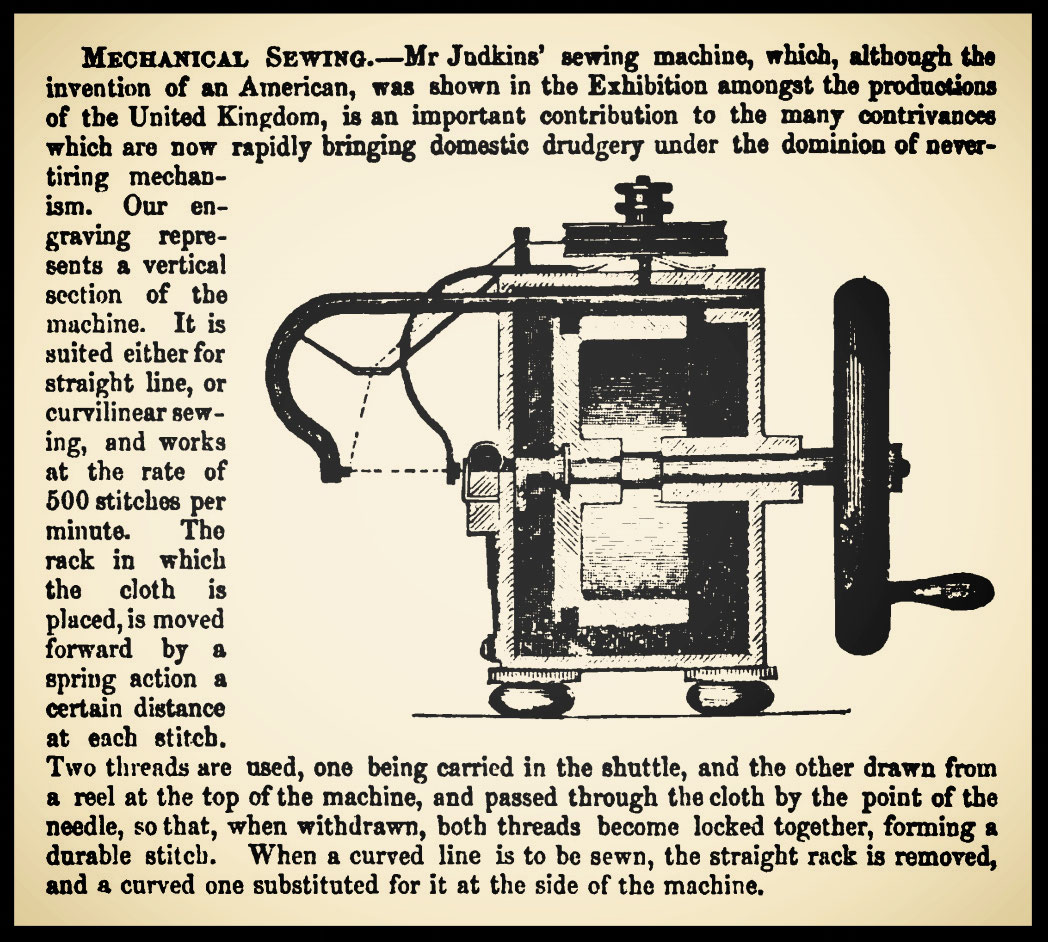 Lancashire Sewing Machine Co Fiddlebase Atlas Threading Diagram Judkins At The 1851 London Exhibition