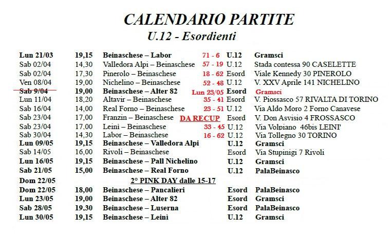 Calendario Attuale.Calendario Attuale U12 Beinaschese
