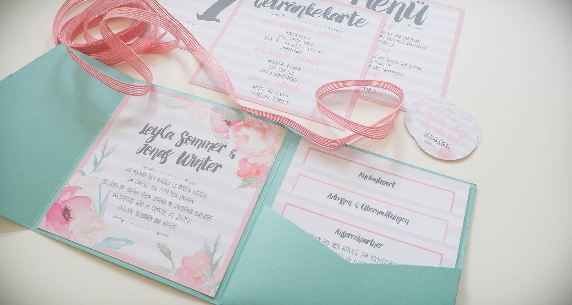 Sneak Peek Pocketfold Hochzeitseinladungen Juhu Papeterie