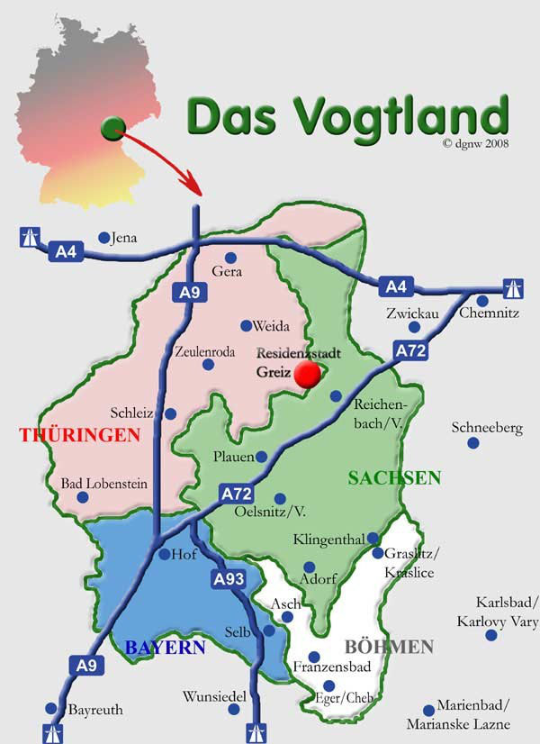 Greiz Vogtlandkarte Www Greiz Tourist De