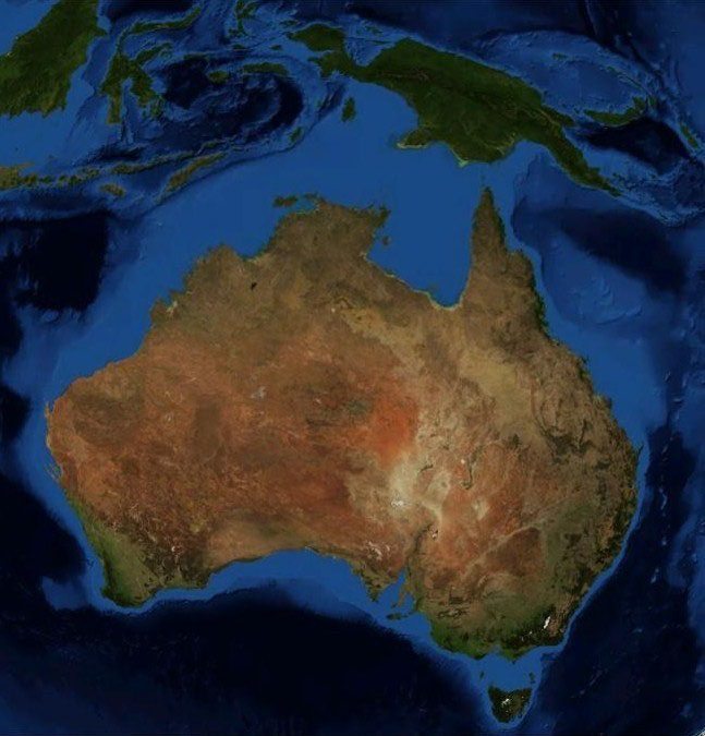continental shelf of australia light blue region