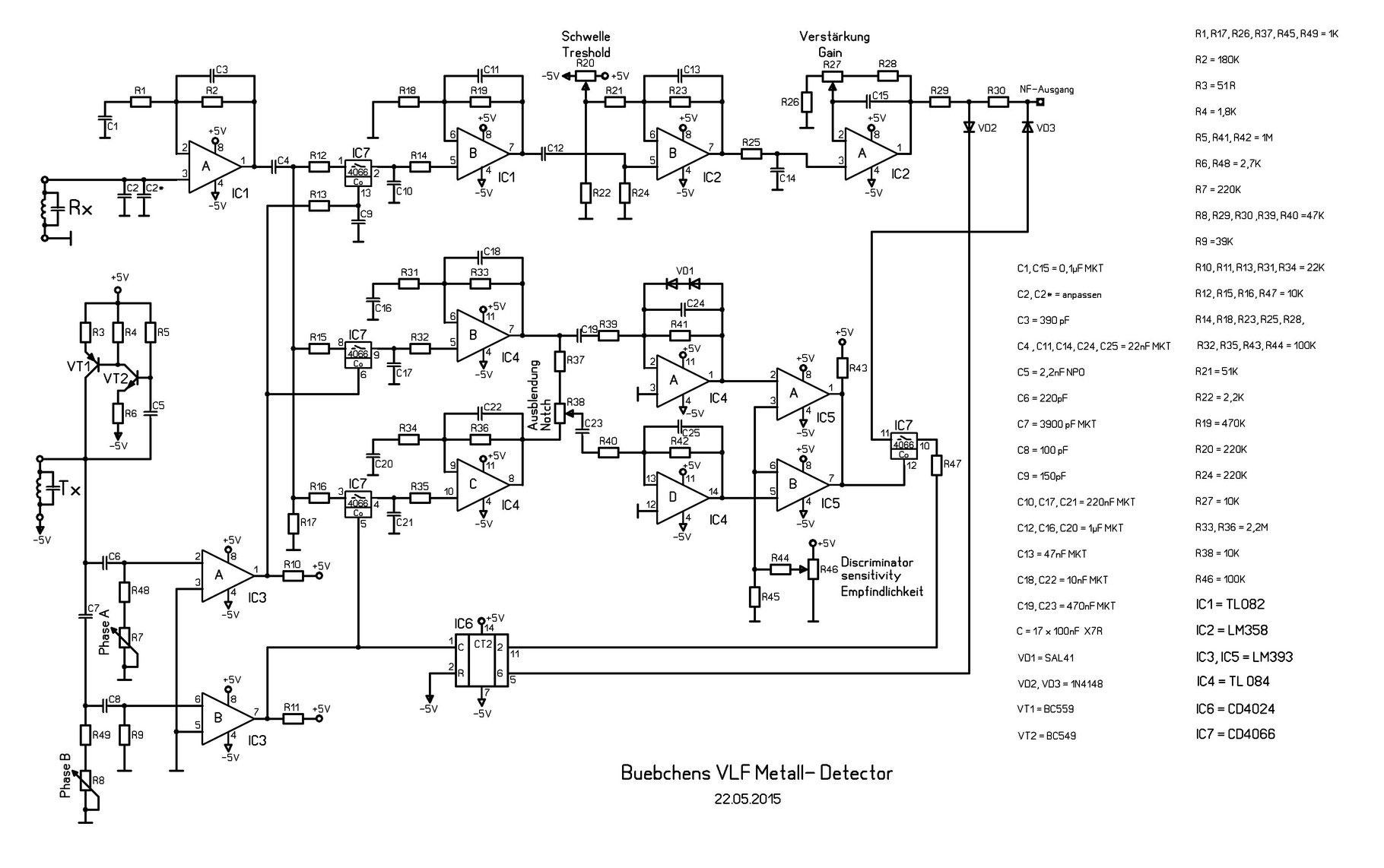 Vlf Metallsuchgert Das Hheren Ansprchen Gengt Buebchens Jimdo Metal Detector Circuits Schematics Schematic
