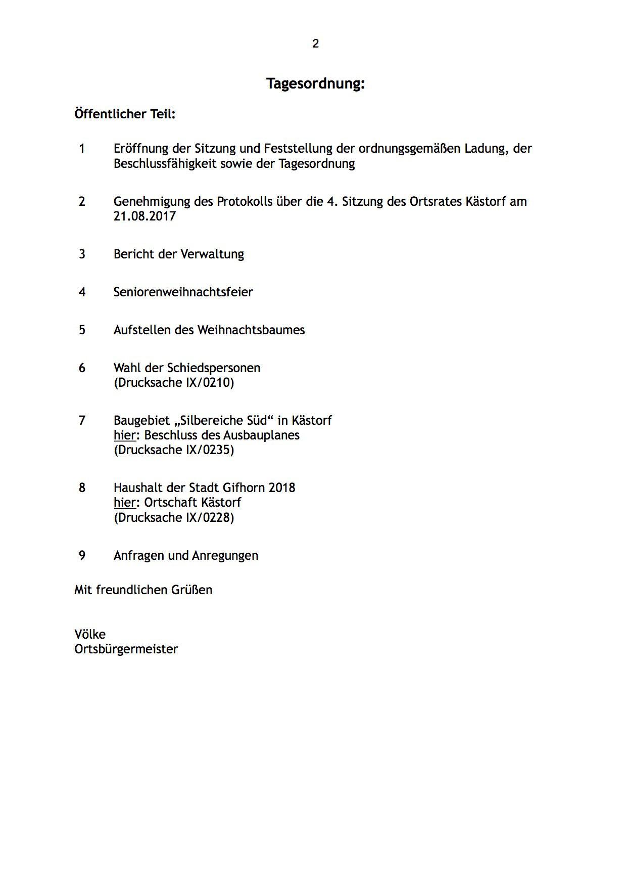 Der Ortsrat tagt am Montag dem 6.11. - Kästorf
