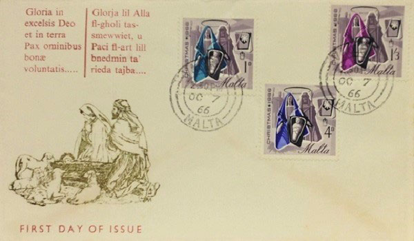 Christmas First Day Cover (FDC) Malta, 1966; Topical Stamp Collecting