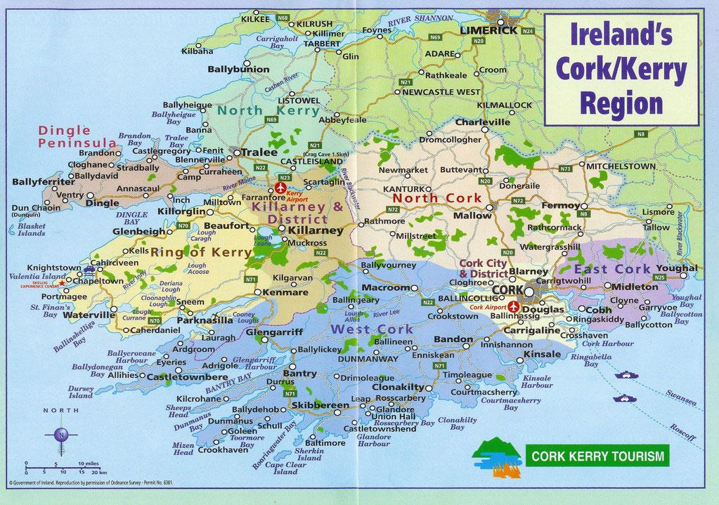 südwest irland karte Südwestirland   County Kerry und Cork   eine immer grüne