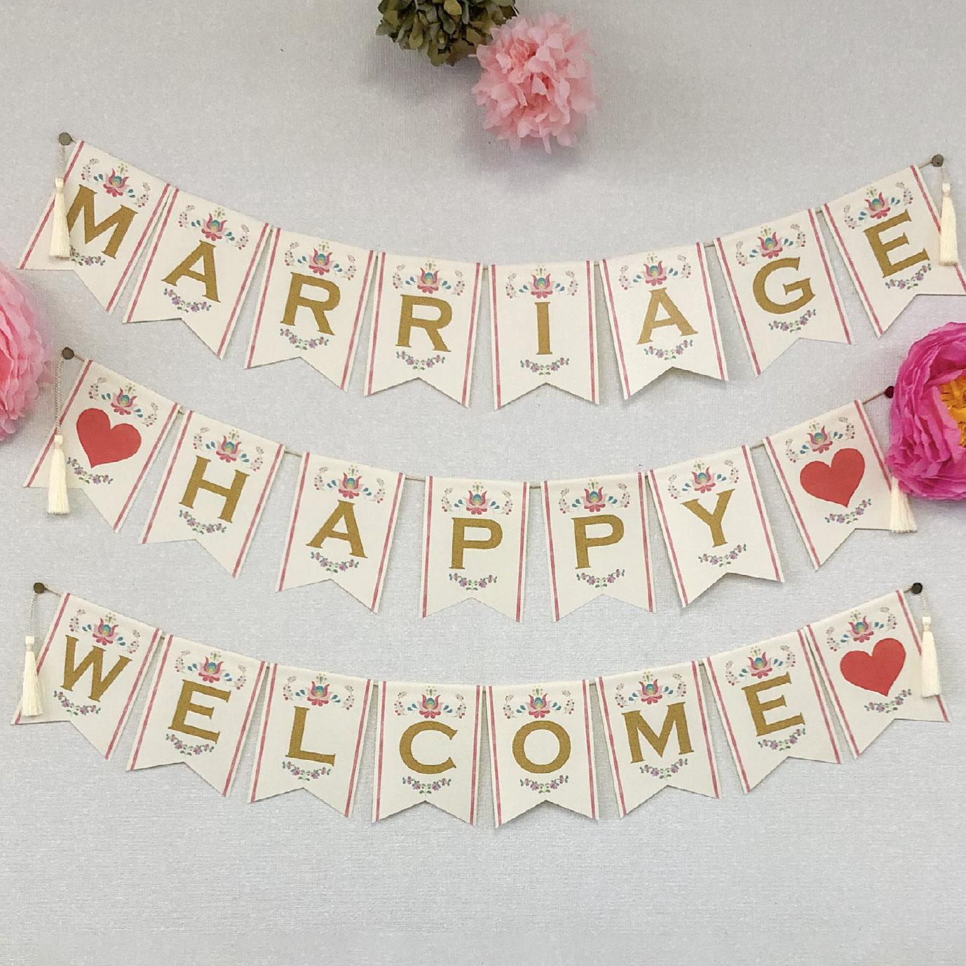 「婚姻届Laboオリジナル ガーランドキット」カロチャ メッセージ3種「MARRIAGE」「♡HAPPY♡」「WELCOME♡」