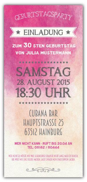 Einladungskarten Als Ticket Geburtstag Vintage Exklusivedrucksachen